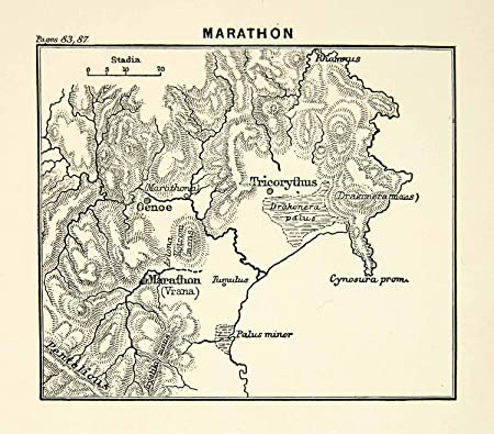 1892 Print Map Ancient Greece Marathon Vrana Oenoe Cynosura ... on