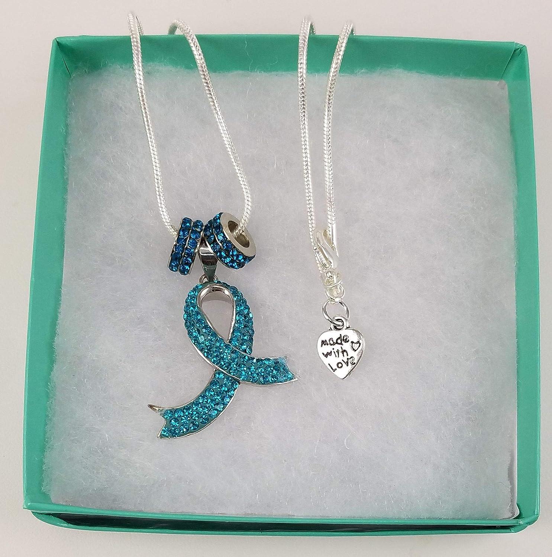 4f34e385f Amazon.com: Ovarian Cancer Awareness Ribbon Pendant Necklace with Teal  Crystal Rhinestone Rings: Handmade