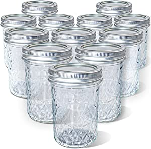 Quilted Crystal Glass Mason Jars 12 OZ Regular Mouth with Lids, Canning Jars Jelly Jars for Meal Prep, Food Storage, Canning, Drinking (12 PACK)
