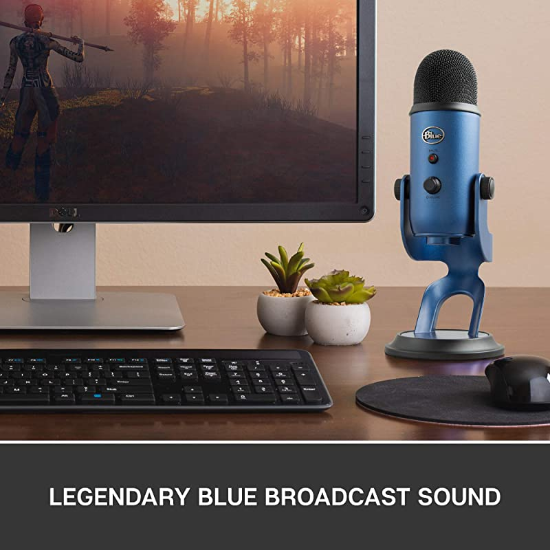 Blue Yeti USB Mic for Recording & Streaming on PC and Mac, 3 Condenser Capsules, 4 Pickup Patterns, Headphone Output and Volume Control, Mic Gain...