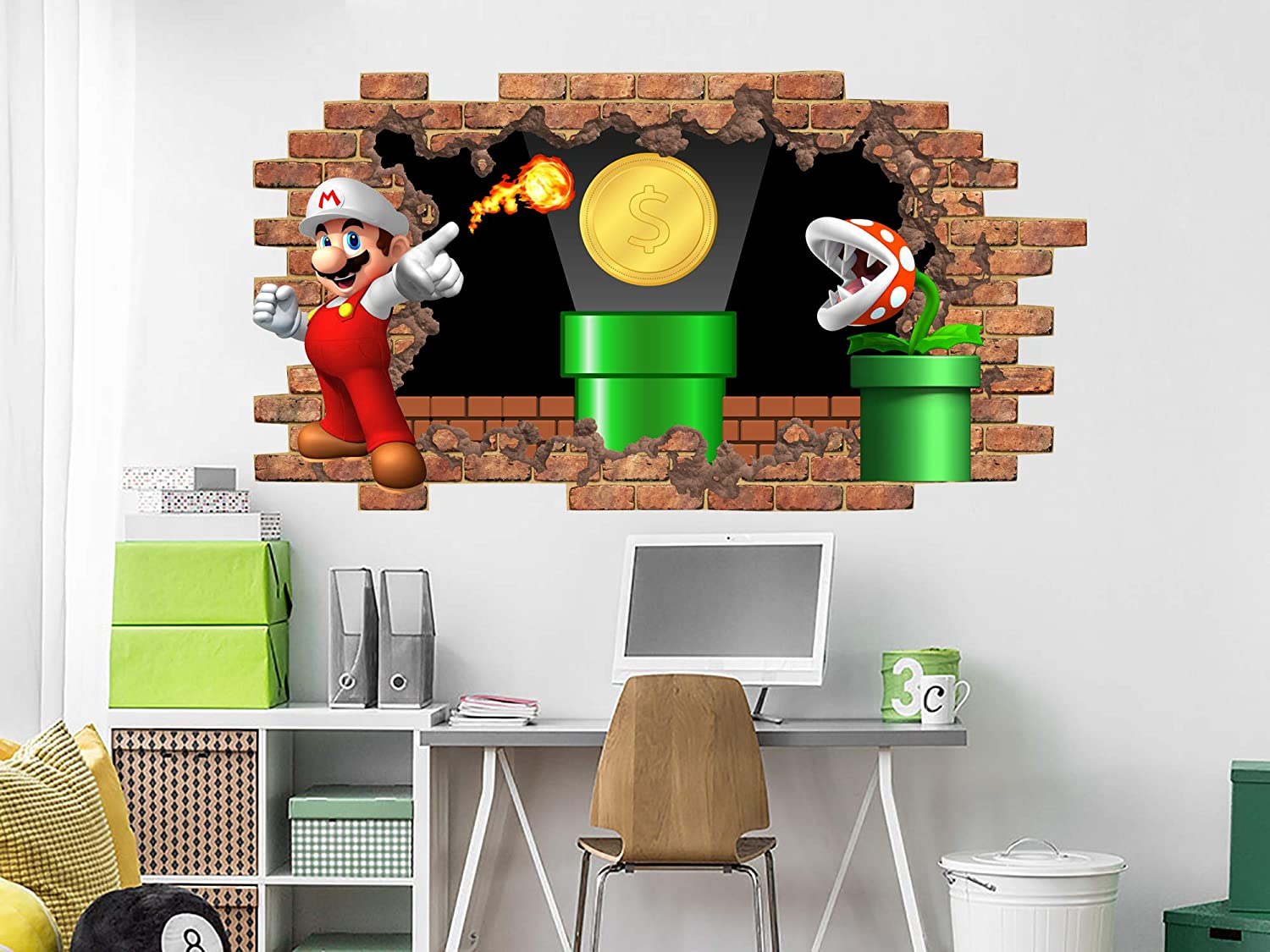 Amazon.com: Super Mario Flame Decals, Hole in the Decal ...