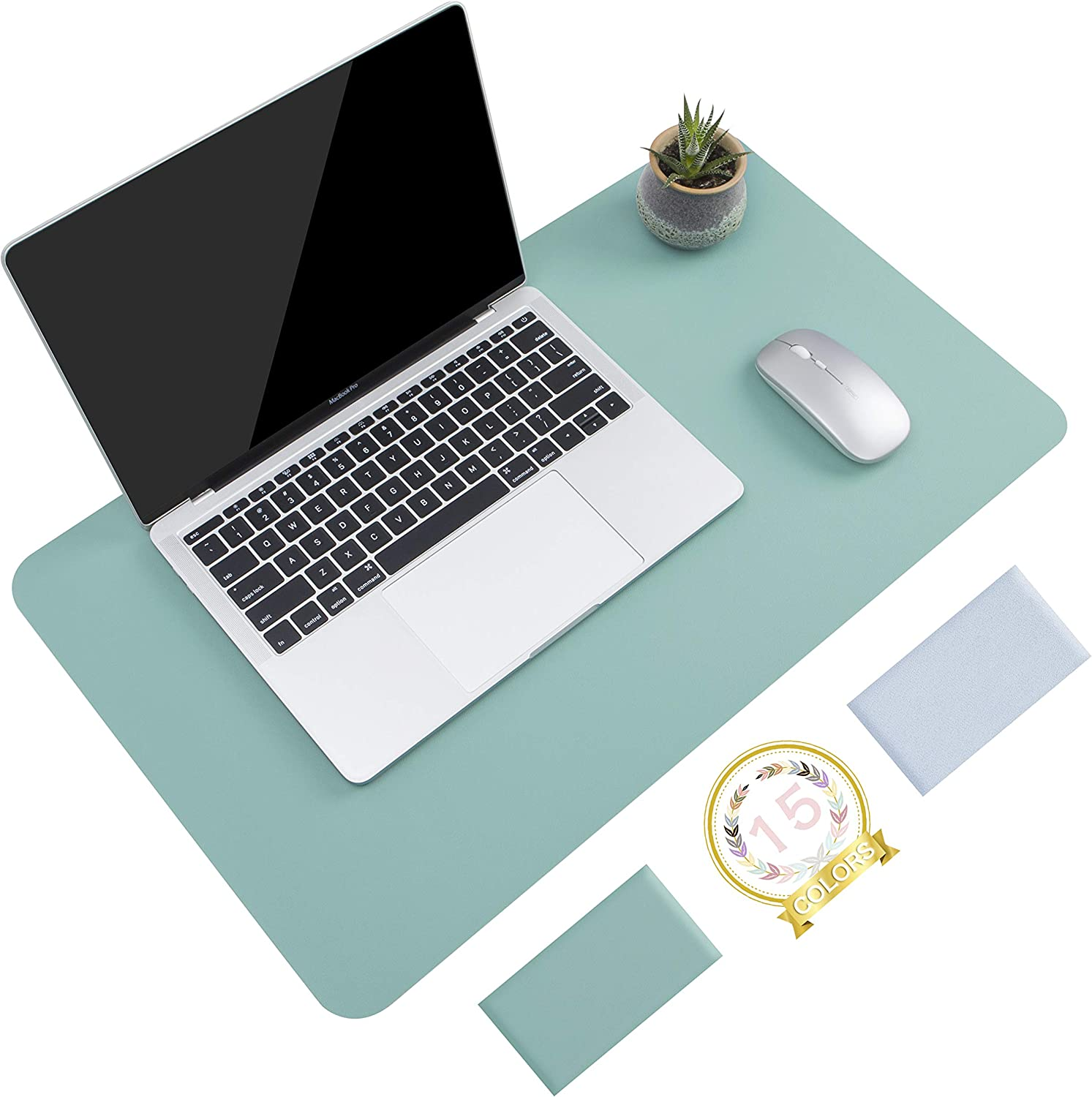 """Non-Slip Desk Pad, Waterproof PVC Leather Desk Table Protector, Ultra Thin Large Mouse Pad, Easy Clean Laptop Desk Writing Mat for Office Work/Home/Decor (Green Blue, 23.6"""" x 13.7"""")"""