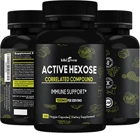 Kiki Green Active Hexose Correlated Compound – 120 Capsules Shiitake Mushroom Extract Supplements – Immune Support Supplement for Men and Women – 1000mg Per Serving