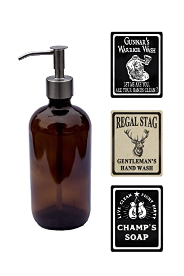 Milkweed Farms 16 oz Men's Glass Soap Dispenser With Waterproof Labels by  (Amber)