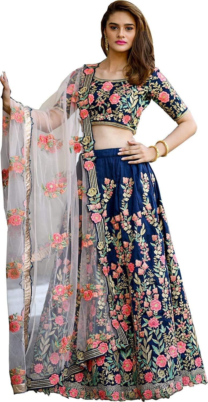 Women's Printed Banglory Satin Semi-Stitched Lehenga Choli (Jp, Multicolour, Free Size)