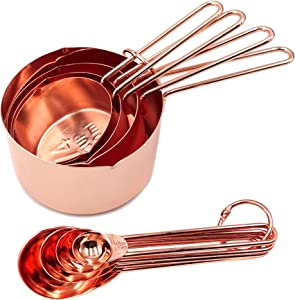 Homestia Stainless Steel Measuring Cups and Spoons Set of 8 Pcs Baking Cooking Utensils with Measurement for Dry and Liquid Ingredients, Copper