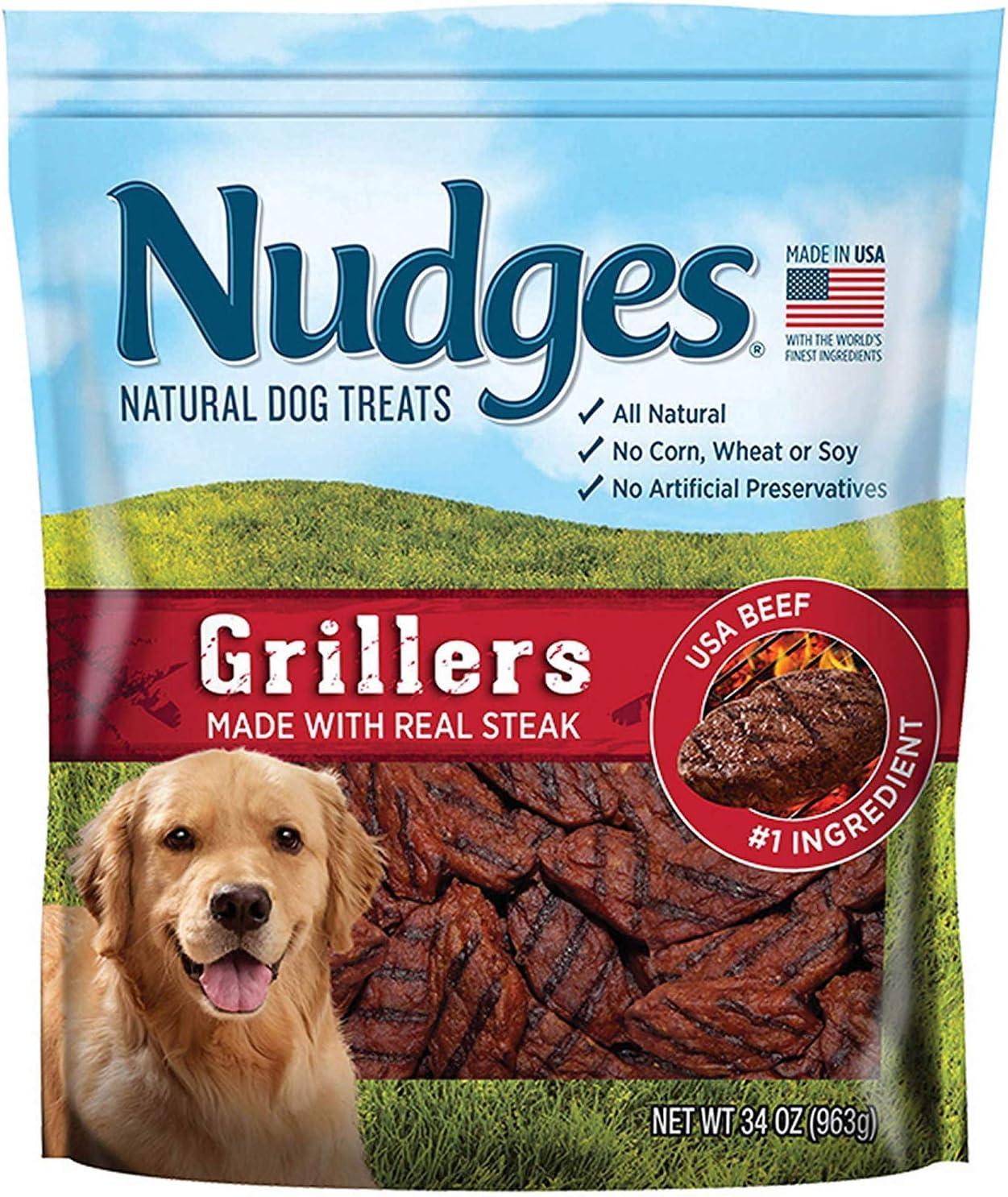 Nudges Natural Dog Treats Steak Grillers, 34 oz. - 2 Packs