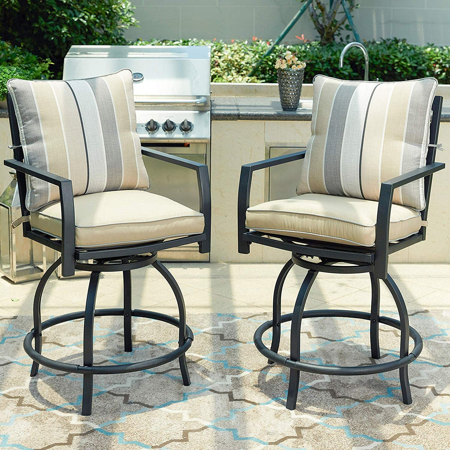 LOKATSE HOME Patio Height Chair Set of 2 Outdoor Swivel Bar Stools with Seat and Back, White Cushions