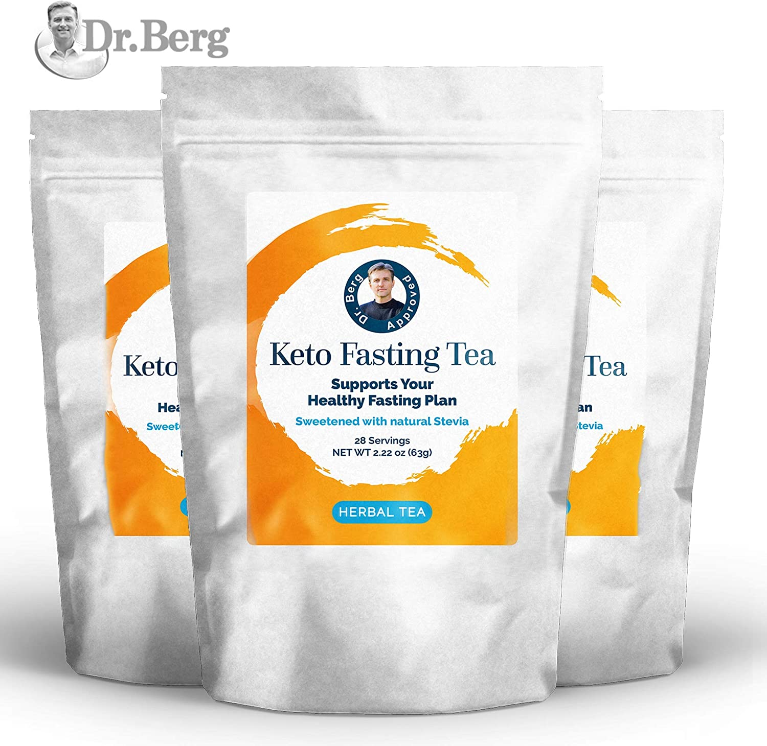 Dr. Berg s Keto Fasting Tea Sweetened Caffeine-Free – an Appetite Suppressant Green Herbal Tea Drink to Help Reduce Hunger for Weight Loss – Dietary Supplement 3 Pack