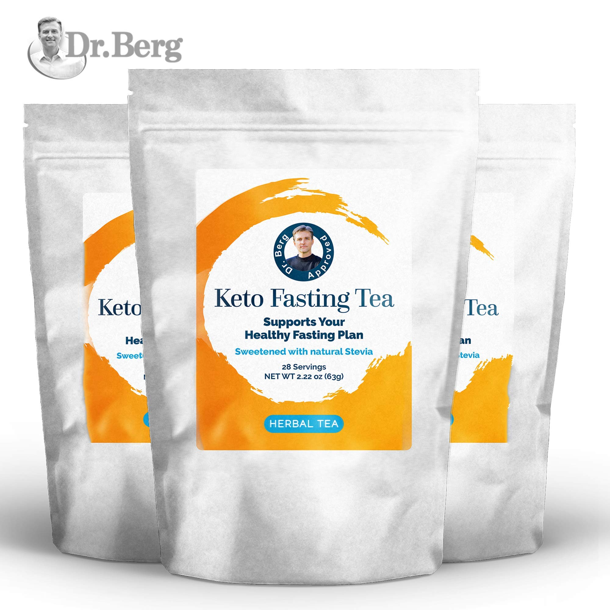 Dr. Berg's Keto Fasting Tea (Sweetened) Caffeine-Free - an Appetite Suppressant Green Herbal Tea Drink to Help Reduce Hunger for Weight Loss - Dietary Supplement (3 Pack)