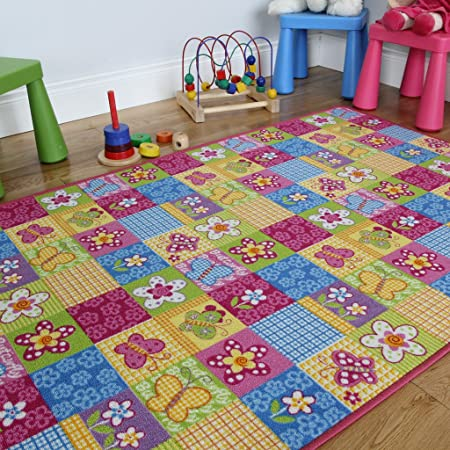 The Rug House Colourful Fun Butterfly Patchwork Girls Rug, Pink, 100 ...