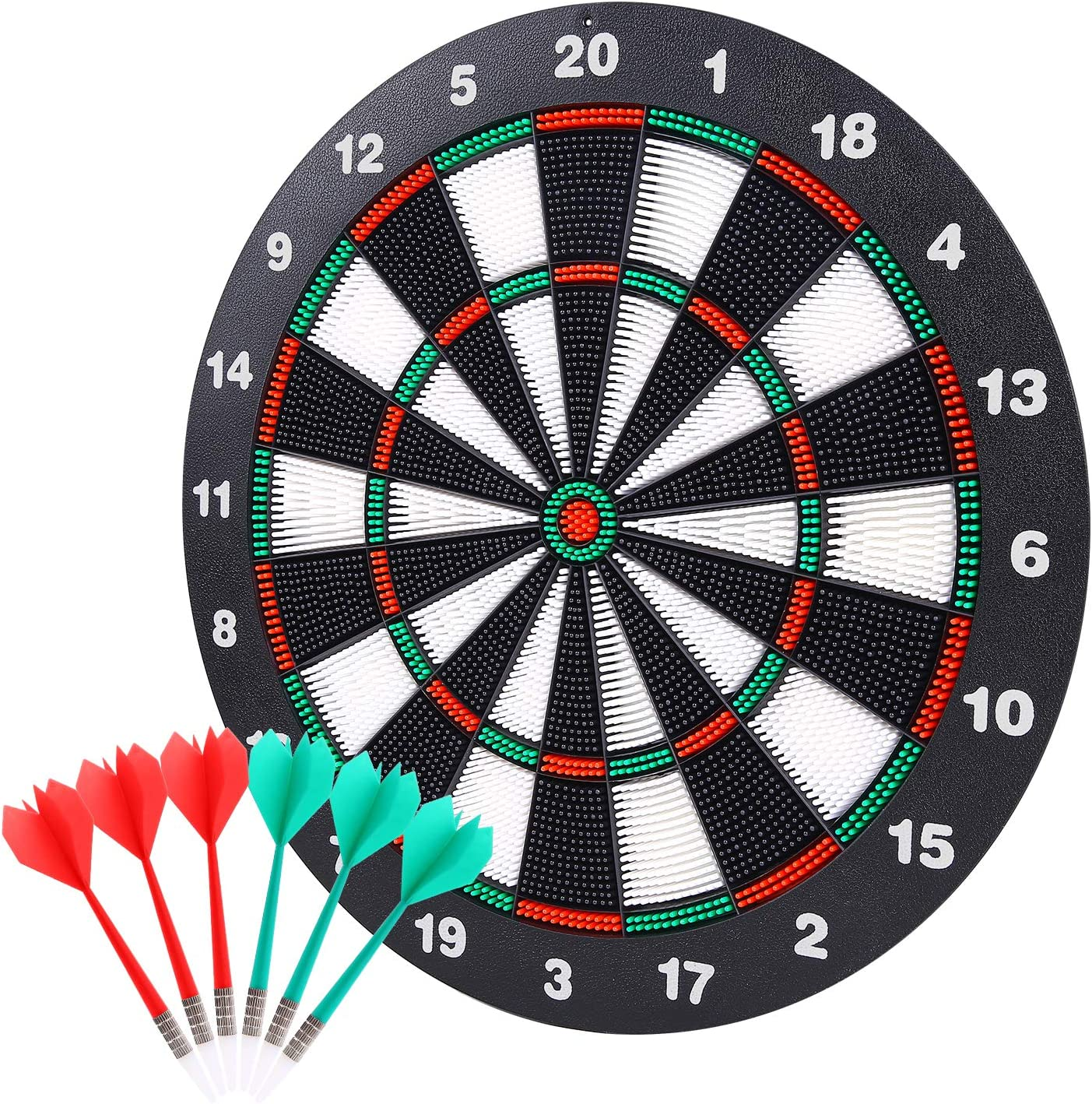 Theefun Safety Dart Board Set -16 Inch Rubber Dartboard Game with 6 Soft Tip Darts for Kids and Adults, Party, Office and Family Leisure Sport