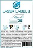 20 Blatt, A4, bedruckbare Klebefolie, weiß, glänzend / geeignet für Produktetiketten, Hinweisschilder, ... / für Laserdrucker und Kopierer