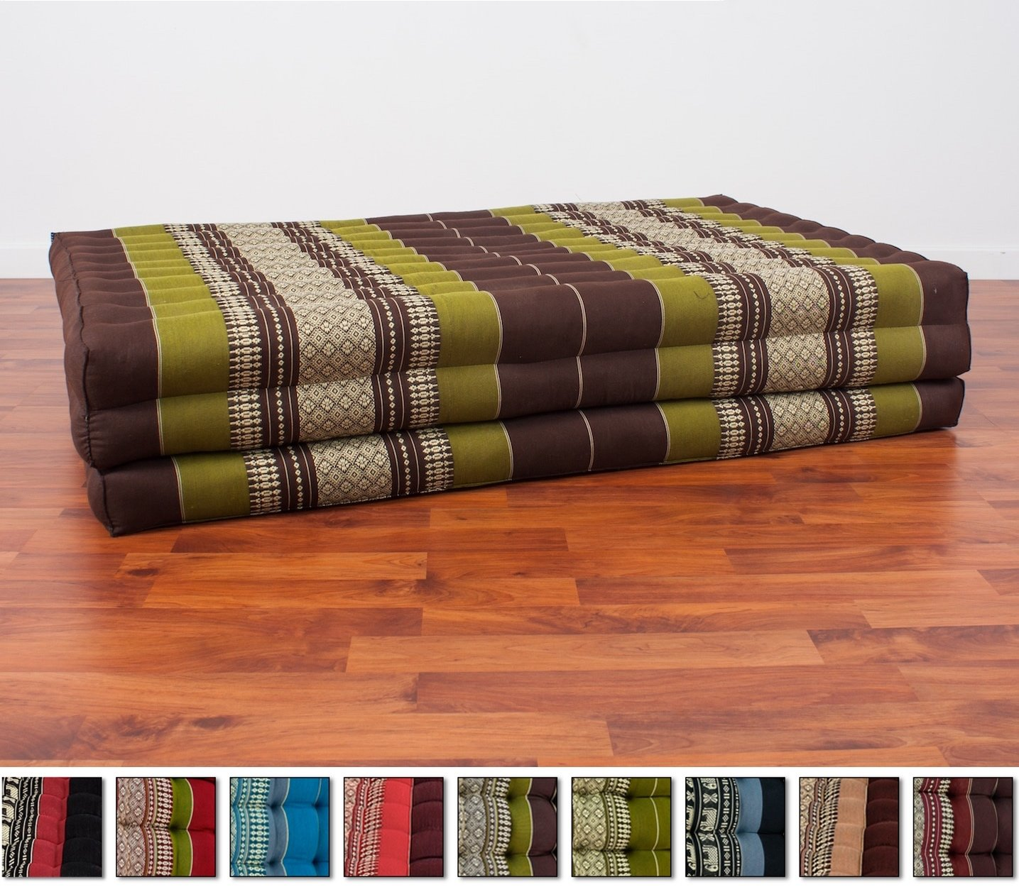 Leewadee Thai Massage Mat XL, 82x46x3 inches, Kapok Fabric, Brown Green, Premium Double Stitched by Leewadee