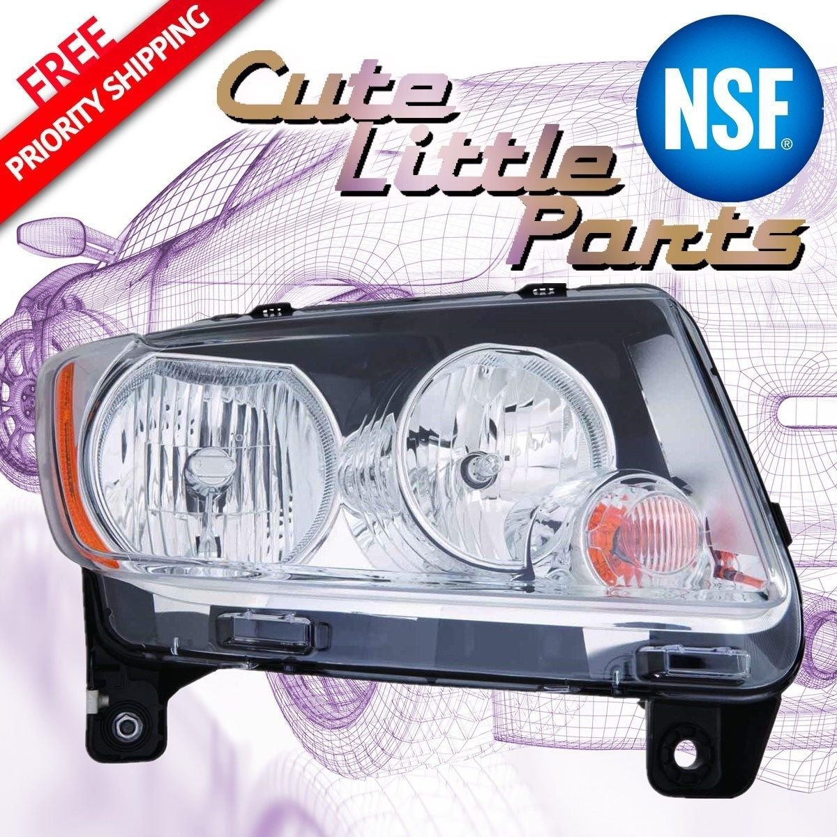 JEEP COMPASS 11-13 CODE LMB PASSENGER SIDE NSF Depo 333-1190R-AFN Headlight Assembly