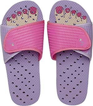 Showaflops Girls' Antimicrobial Shower & Water Sandals for Pool, Beach, Camp and Gym - Adjustable Slide