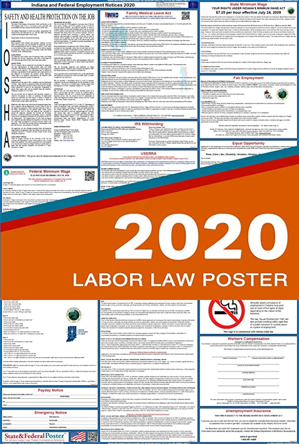 Arizona State and Federal Labor Law Poster 2019 SPANISH Laminated 27 x 40