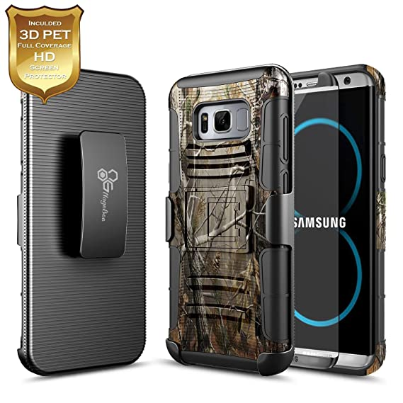buy popular 93d66 a56d9 Amazon.com: Galaxy S8 Plus Case with [Full Coverage 3D PET HD Screen ...
