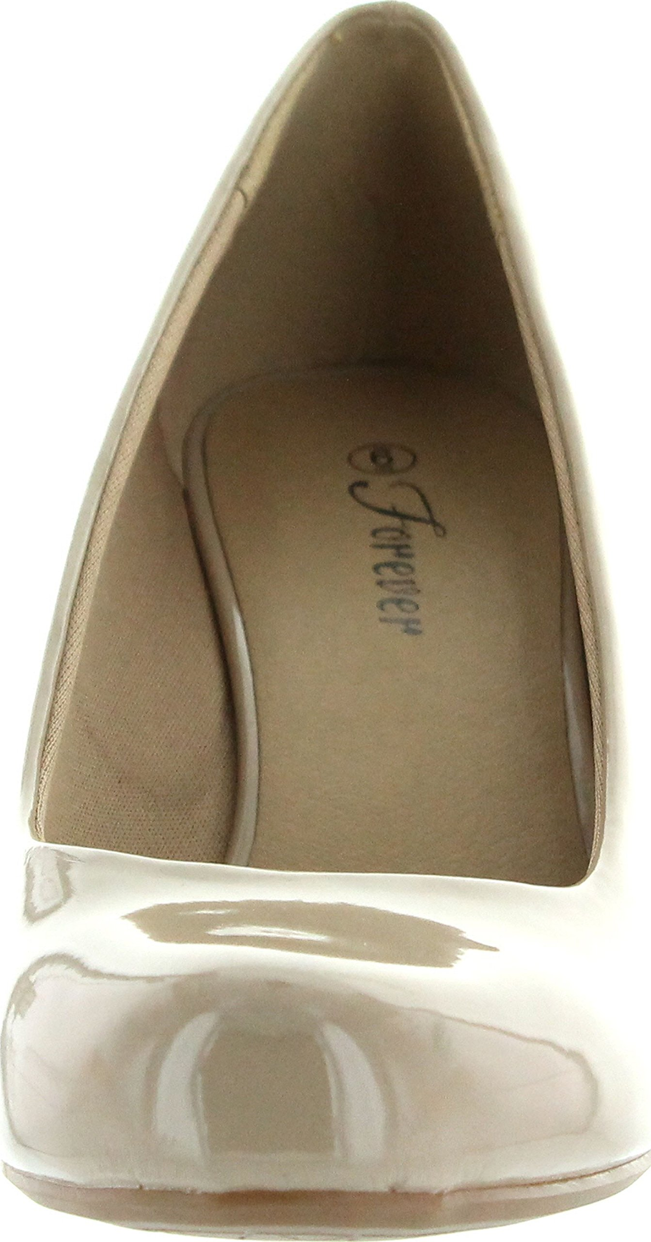 Forever Link Women's DORIS-22 Patent Round Toe Wedge Pumps,7.5 B(M) US,Beige by Forever (Image #3)