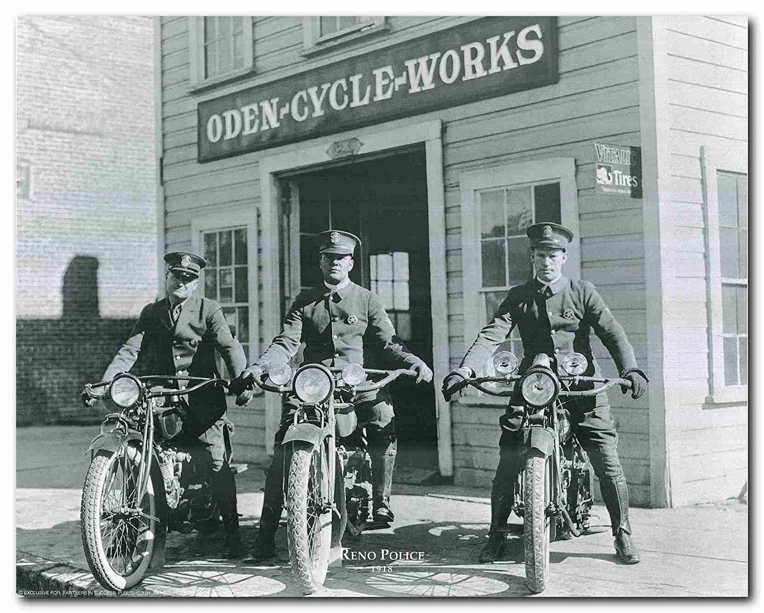 Wall Decor Vintage Reno Police Motorcycle Oden Cycle Works Art Print Poster (16x20)