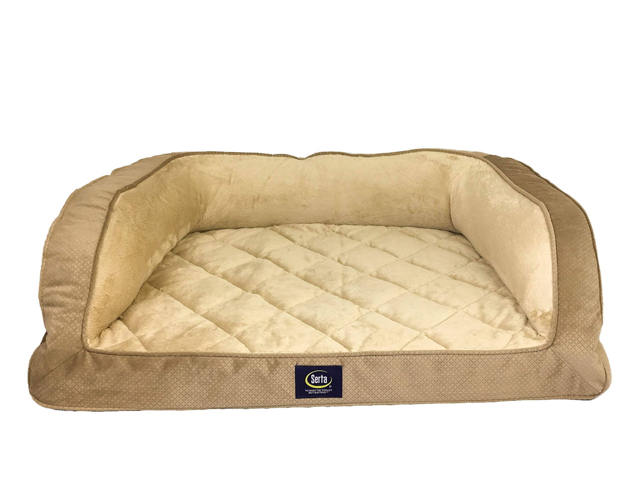 Serta Ortho Quilted Couch Pet Bed, Large, Tan