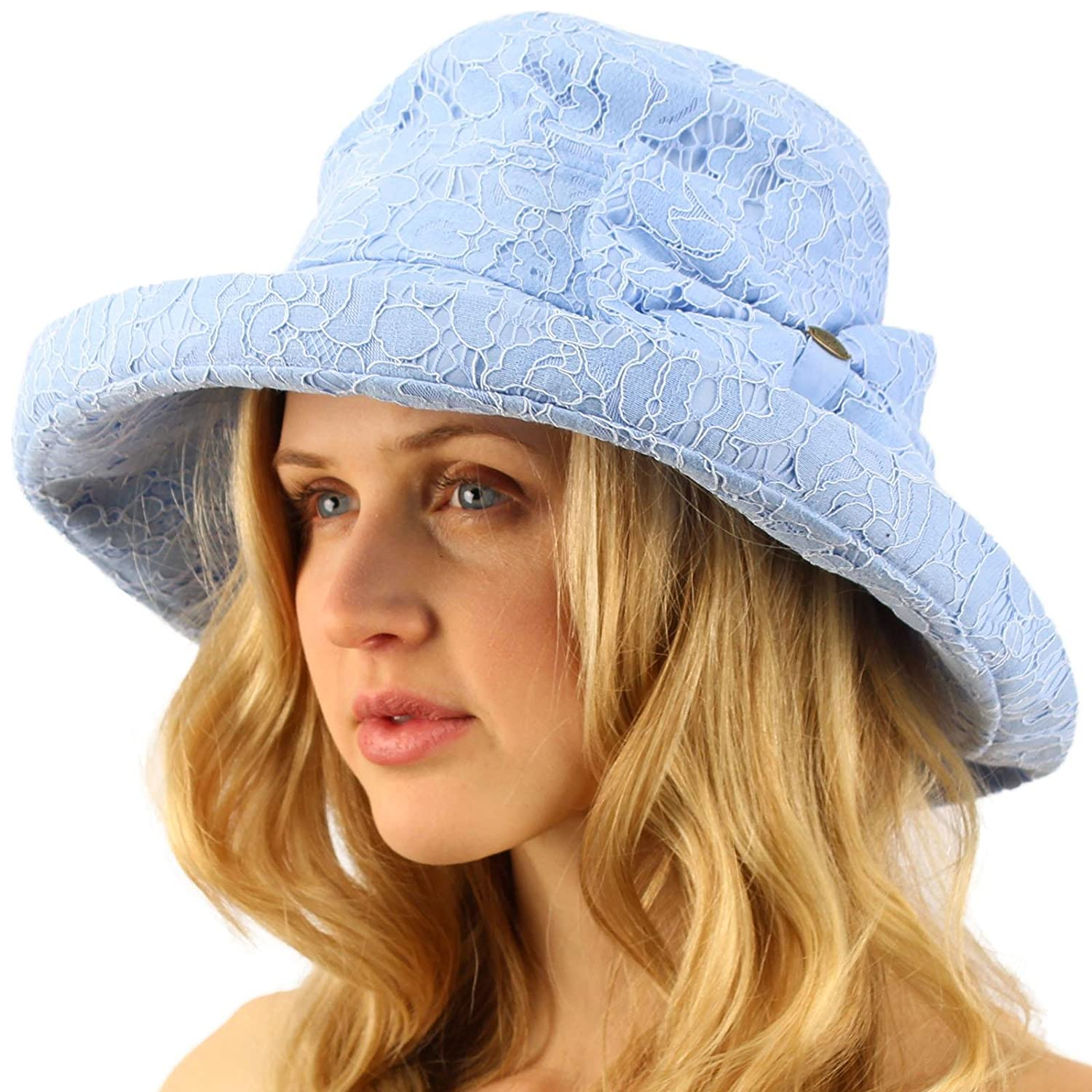 adaf931d384b6 Lace Overlay Travel Foldable Summer Derby Beach Pool Bucket Wide Sun Hat  Baby Blue at Amazon Women s Clothing store