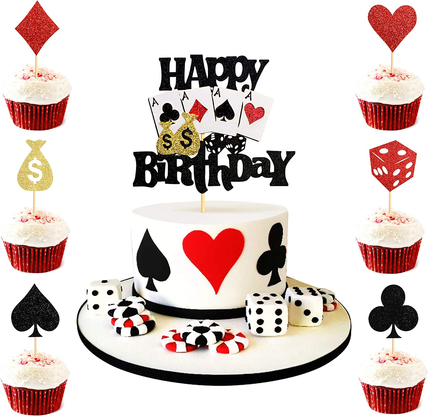 Keaziu 25 Pack Casino Cupcake Topper Poker Heart cupcake Toppers Playing Cards Vegas Theme Cupcake Toppers Decorations Poker Night Party Supplies