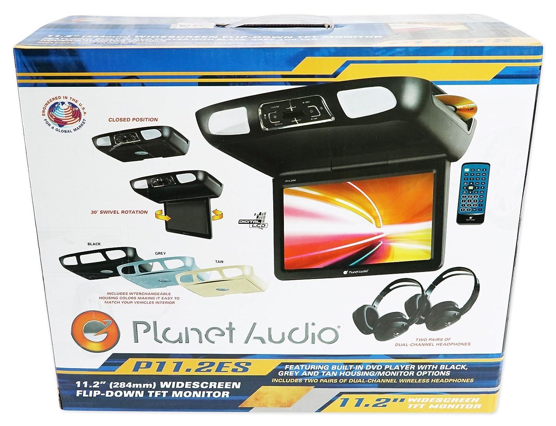 "Amazon.com: PLANET AUDIO P11.2ES Black/Grey/Tan 11.2"" Flip Down Car DVD  Monitor+Headphones: PLANET AUDIO: Car Electronics"