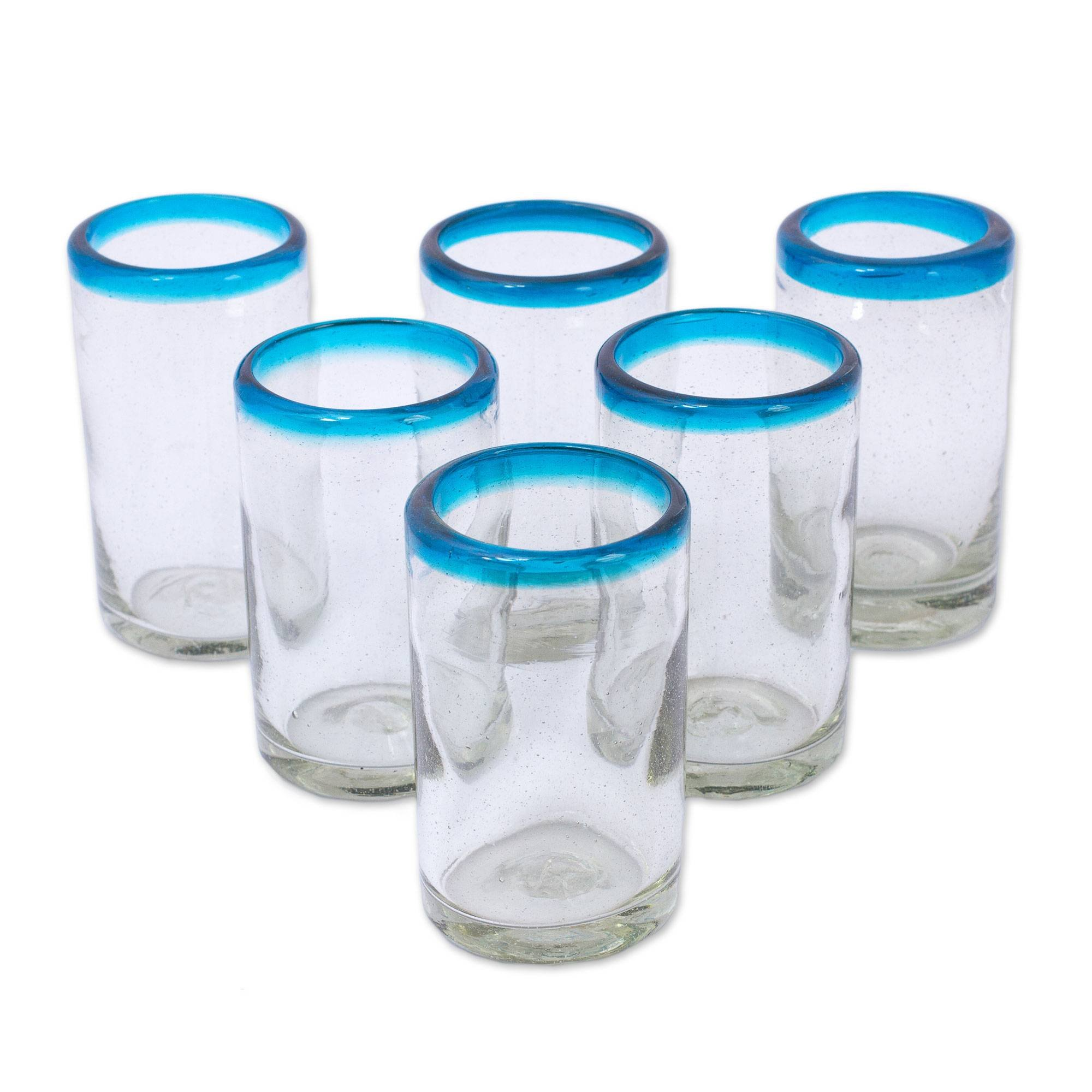 NOVICA 'Sky Blue Halos' Hand Blown Glass Tumblers, 8 Ounces, Clear with Turquoise Blue Rim (Set of 6)