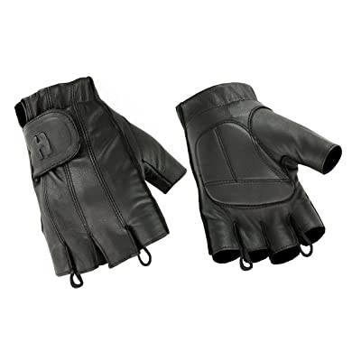 Men's Water Resistant Gel-Padded Palm Fingerless Motorcycle Gloves: Clothing