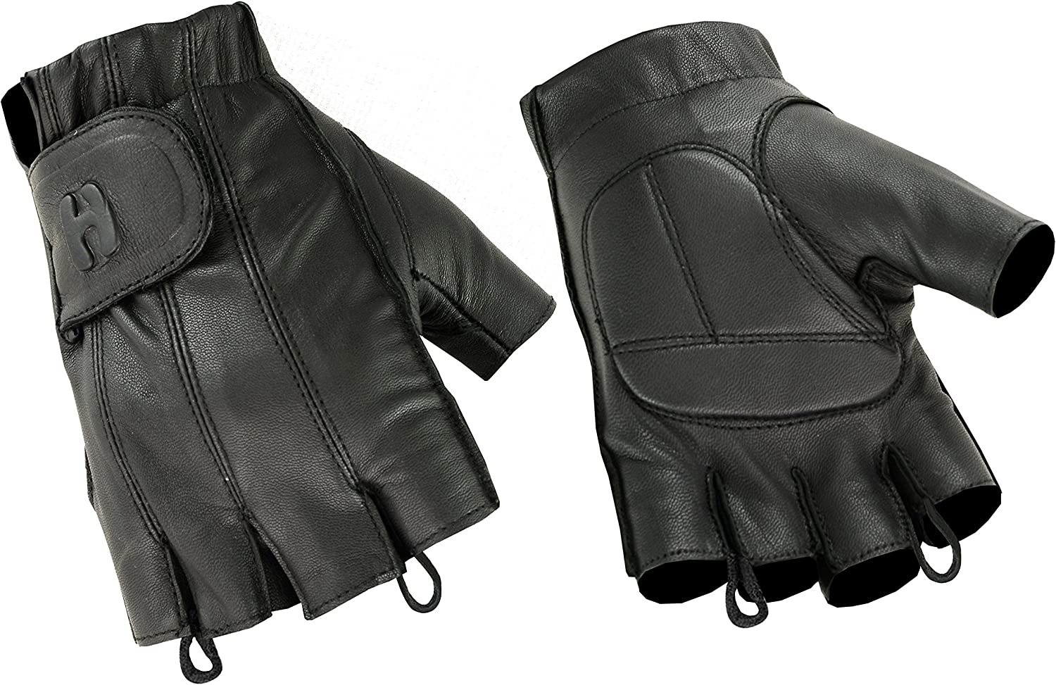 Driving Police Outdoor Motorcycle Riding Hugger Fingerless Black Leather Gloves w//Gel Padded Palms