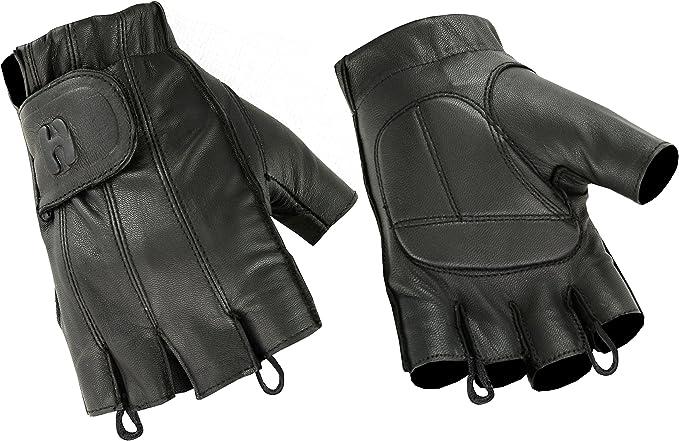 LARGE Fingerless Work Gloves Heavy Duty Reinforced Palms Black//Gray Milwaukee