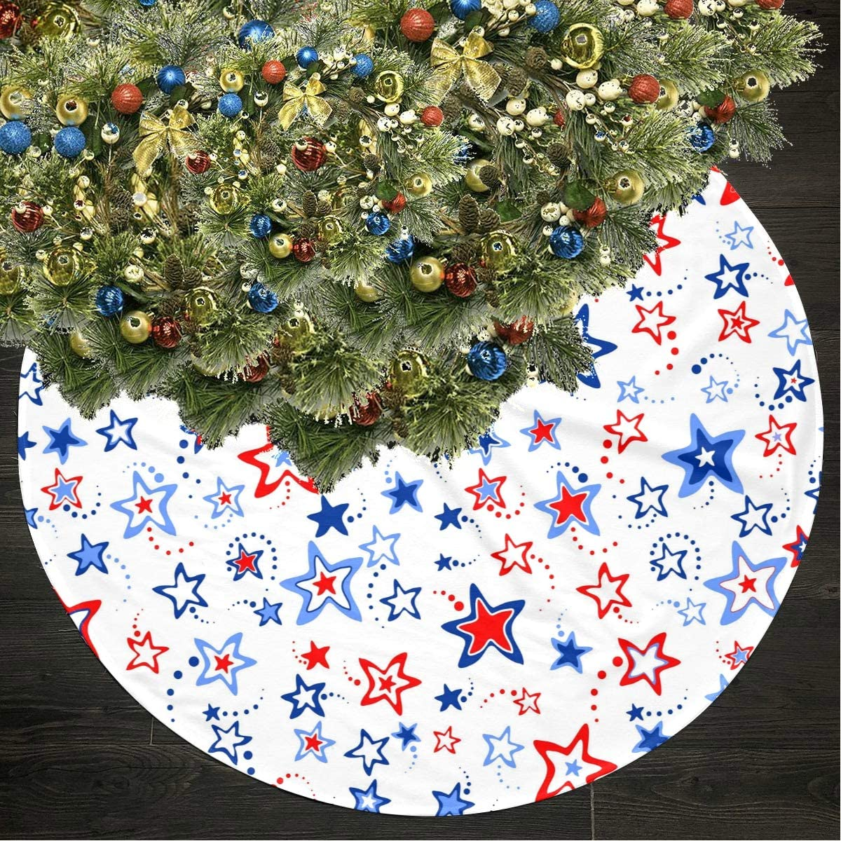 Jnseff Christmas Tree Skirt 4th July Illustration Print Tree Skirts Polyester Kids Christmas Tree Skirt Carpet for Party Holiday Decorations Xmas Ornaments