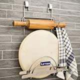 Levon Stainless Steel Hanging Chakla Belan Stand | Rolling Pin Stand with Tong Holder for Kitchen - Size (185 X 60 X 360 mm)