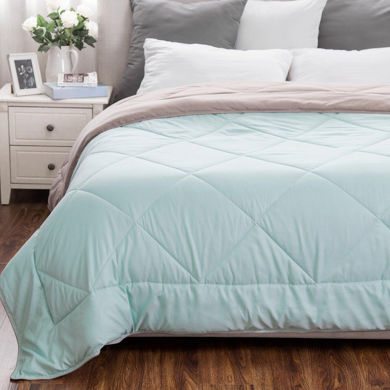 Twin Reversible Comforter Duvet Insert with Corner Ties--Quilted Down Alternative Comforter Mint/Tan 66