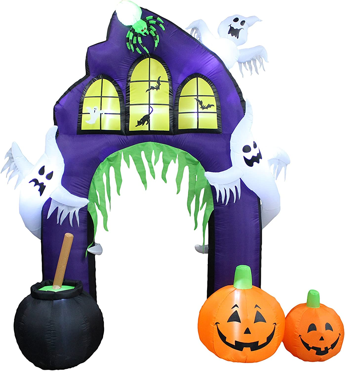 9 Foot Tall Halloween Inflatable Castle Archway with Pumpkins and Ghosts LED Lights Decor Outdoor Indoor Holiday Decorations Blow up Lighted Yard