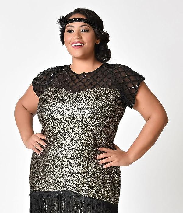 1c0350d00ff9 ... Black Unique Vintage Plus Size 1920s Gunmetal Sequin Fringe Del Mar  Flapper Dress Metallic