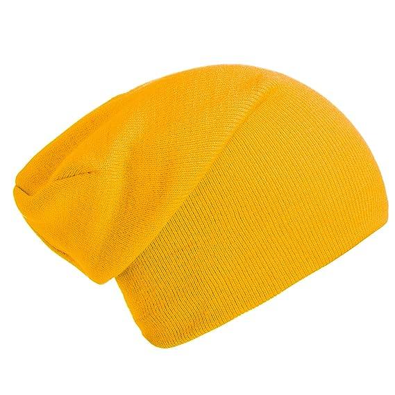 DonDon gorro de invierno gorro de abrigo slouch beanie diseño clásico  moderno y suave Amarillo dc81880dd7f