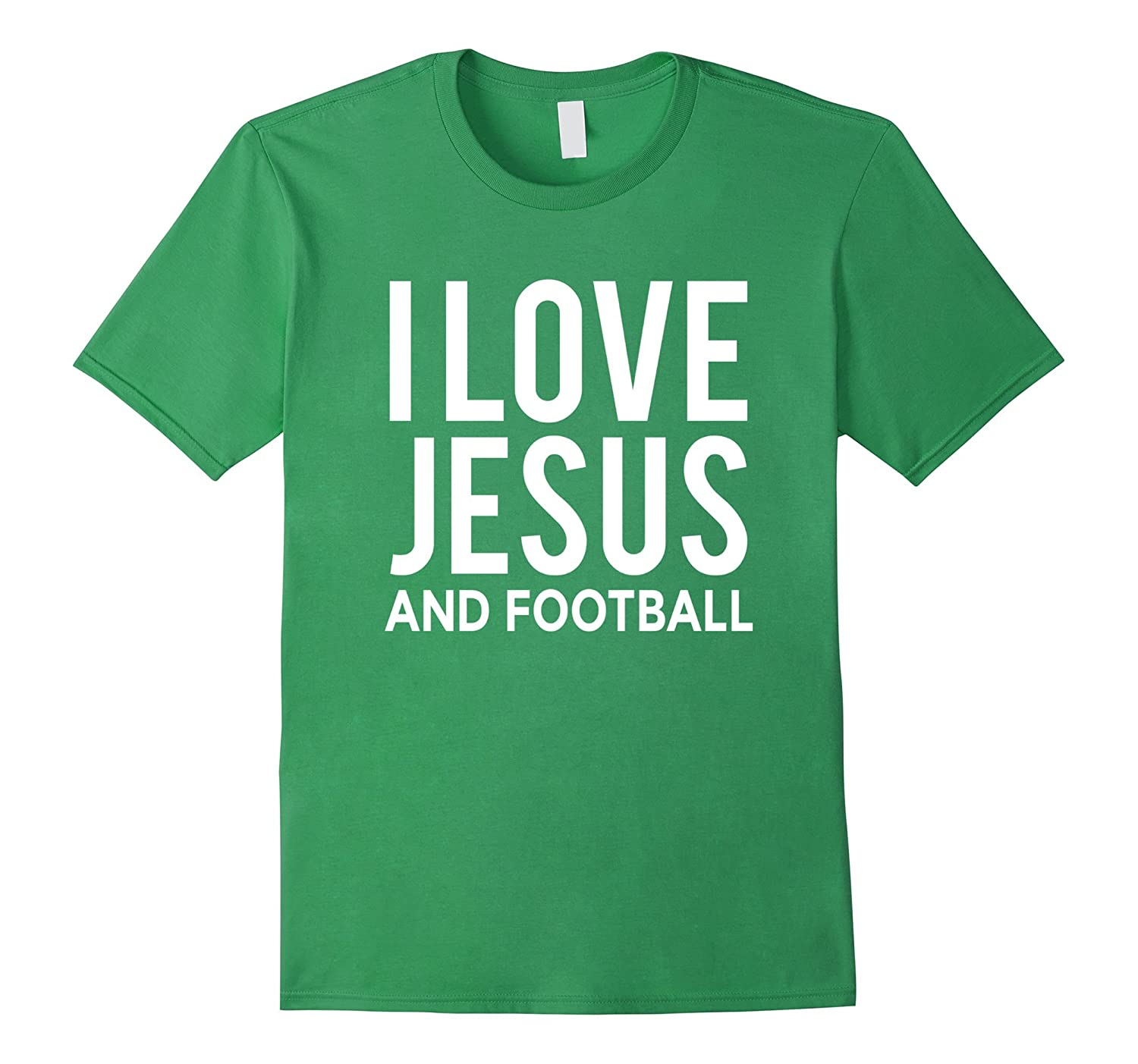 I Love Jesus and Football T-Shirt Funny Christian Message-CD