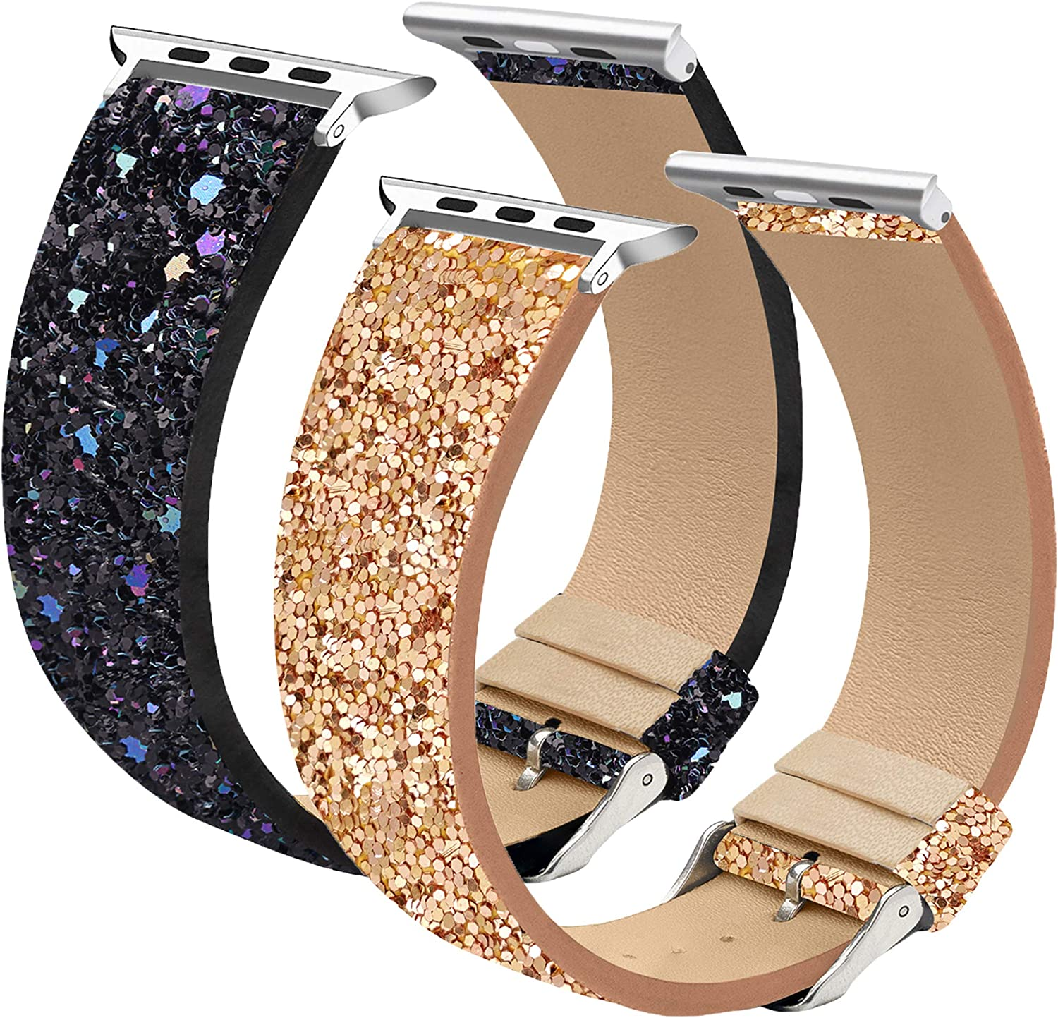 2 Pack Shiny Wrist Straps Replacement Compatible with iWatch Series 6, Series SE, Series 5, Series 4, Series 3, Series 2, Series 1, Glitter Watch Band Compatible with Apple Watch 42mm 44mm