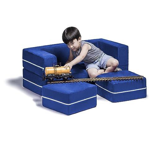 Beau Jaxx Zipline Kids Modular Loveseat U0026 Ottomans/Fold Out Lounger, Blueberry
