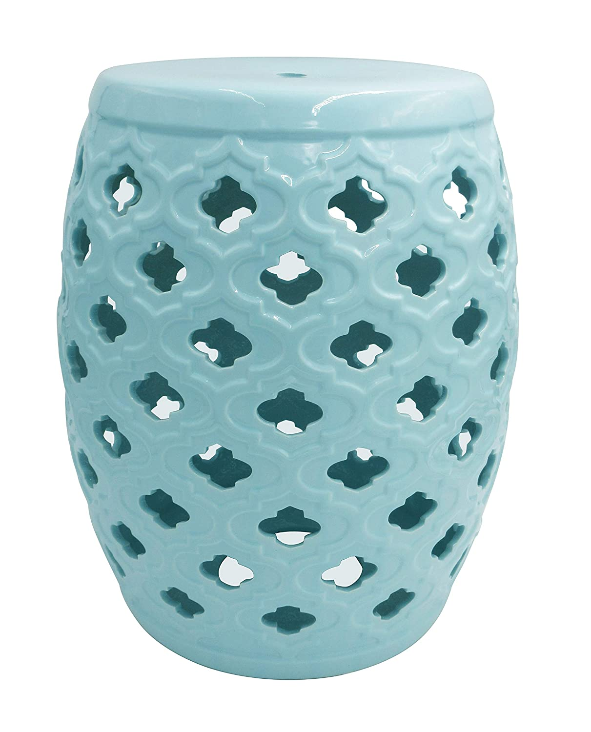 Ravenna Home Moroccan-Pattern Ceramic Garden Stool or Side Table, 16 H, Light Blue
