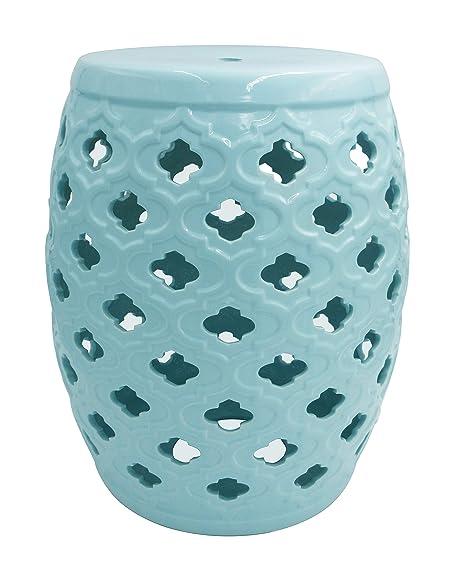 Fabulous Ravenna Home Moroccan Pattern Ceramic Garden Stool Or Side Table 16H Light Blue Machost Co Dining Chair Design Ideas Machostcouk