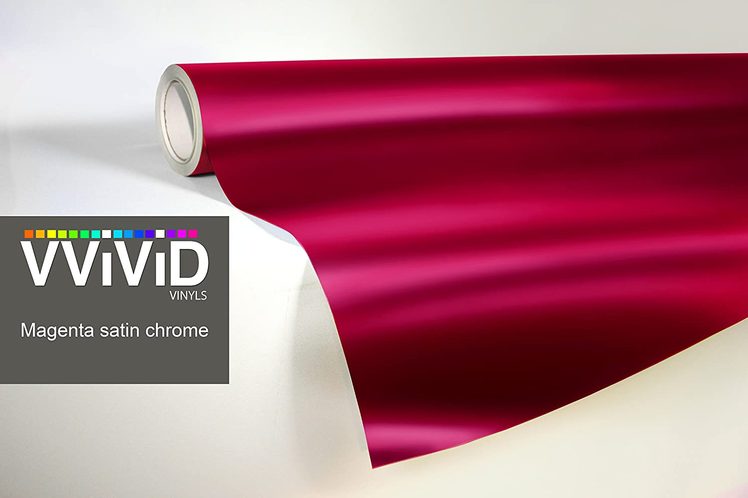1ft x 5ft VViViD Pink Magenta Satin Chrome Metallic Finish Vinyl Wrap Film Roll Decal Sheet DIY Easy to Use Air-Release Adhesive