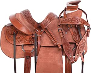 "Manaal Enterprises Wade Tree A Fork Premium Western Leather Roping Ranch Work Horse Saddle TACK, Size 14"" to 18"" Inches Seat Available (15.5"" Inches, Rough Out)"