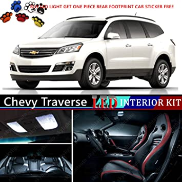 18pcs LED Premium Xenon White Light Interior Package Deal For Chevy Traverse  2008 2016