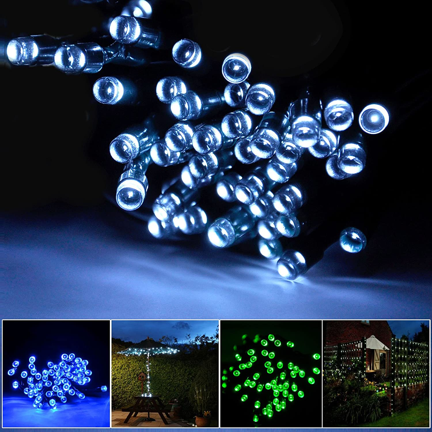 Lychee 17m 55ft 100LED Solar Waterproof Fairy String Light With 2 Modes for Outdoor Indoor Wedding Garden Home Party Christmas Decoration (White)