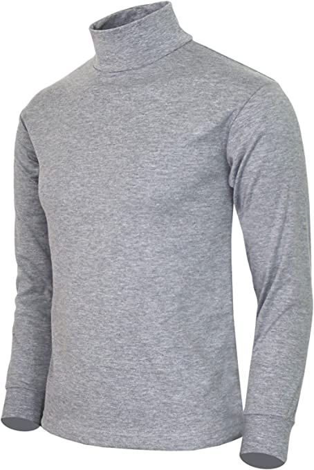 Mens Heavy Cotton 300gsm Long Sleeve Winter Roll Ribbed Turtle Neck Polo Top