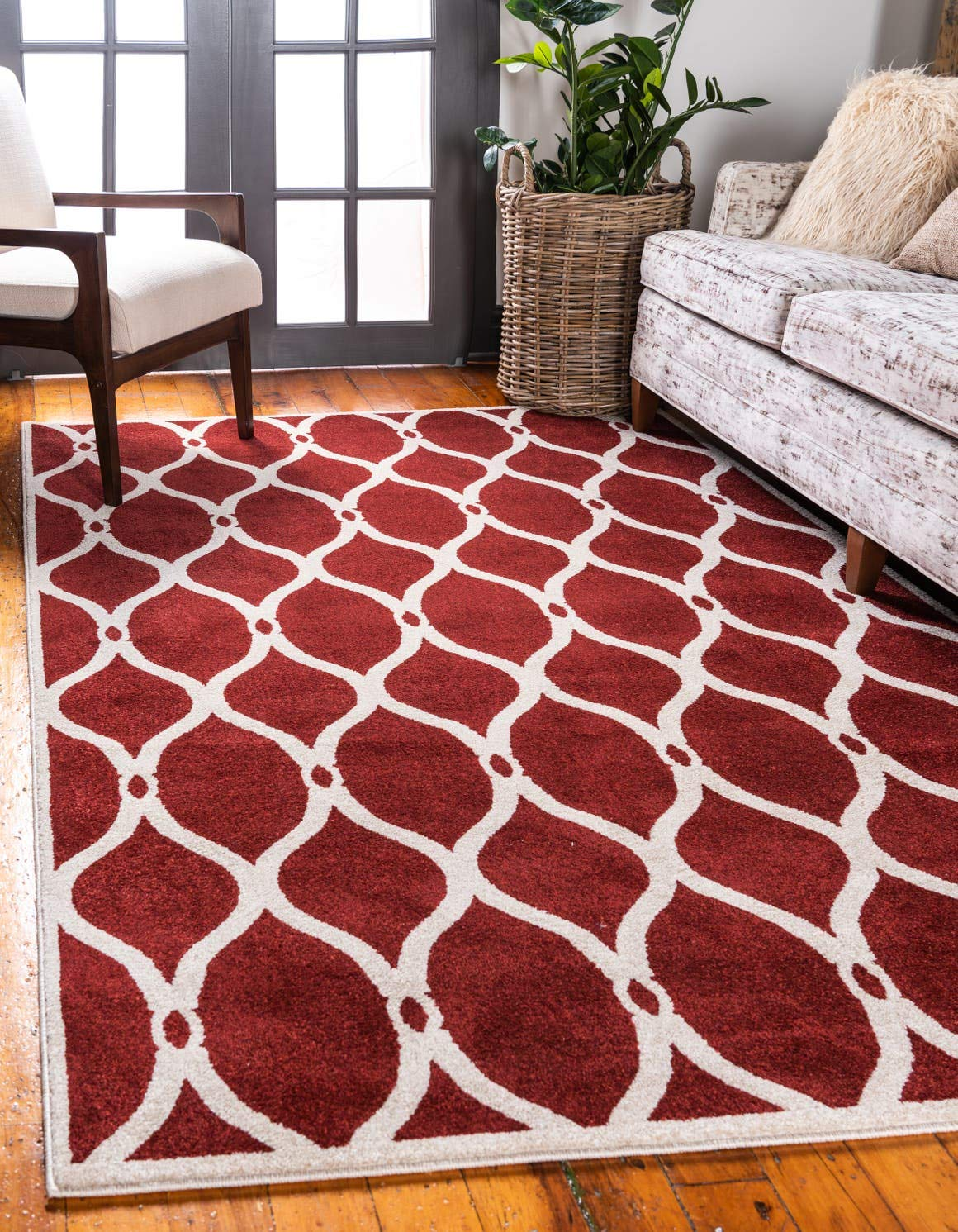 Unique Loom Trellis Collection Geometric Modern Red Area Rug 5 0 x 8 0