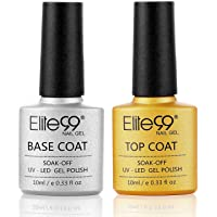 Elite99 No Wipe Top Coat Base Coat Gel polish Soak Off UV LED Gel Nail Polish Lacquer 10ml Clear